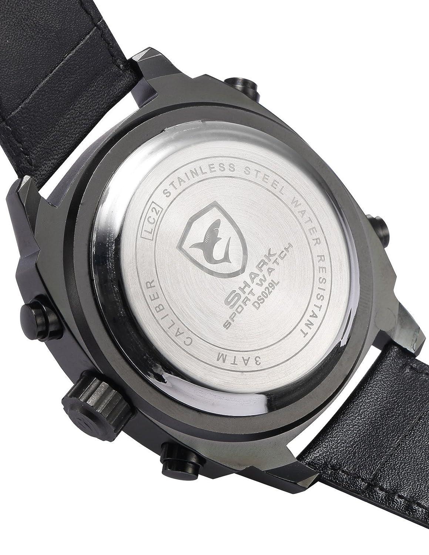 Silvertip Shark Deportivos Relojes De Pulseras Hombre Piel Alarma Día Fecha Pantalla LED SH495: Amazon.es: Relojes