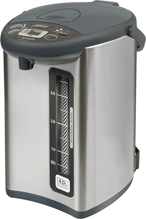 Zojirushi CD-JWC40HS Water Boiler and Warmer with 4 Descaling Agents and Milk Frother Bundle 3 Items 4 Liters, Silver Gray