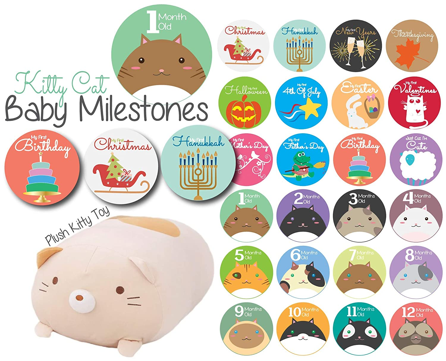 Baby Monthly Stickers | Mermaid Baby Stickers | Babys First Year 12 Monthly Milestone Stickers Plus 12 Holiday and Special Occasion Stickers L & P Designs