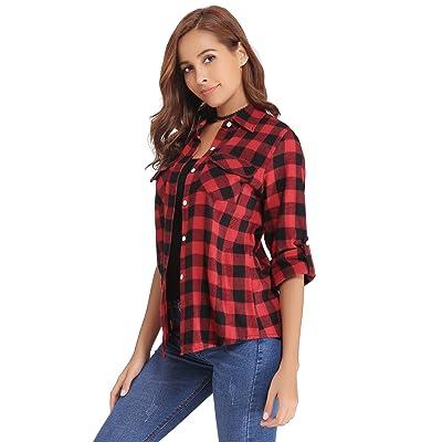f533516d40 Abollria Chemise Casual à Carreaux Chemisier Femme Classique Coton Gilet Femme  Blouse T-Shirt Automne