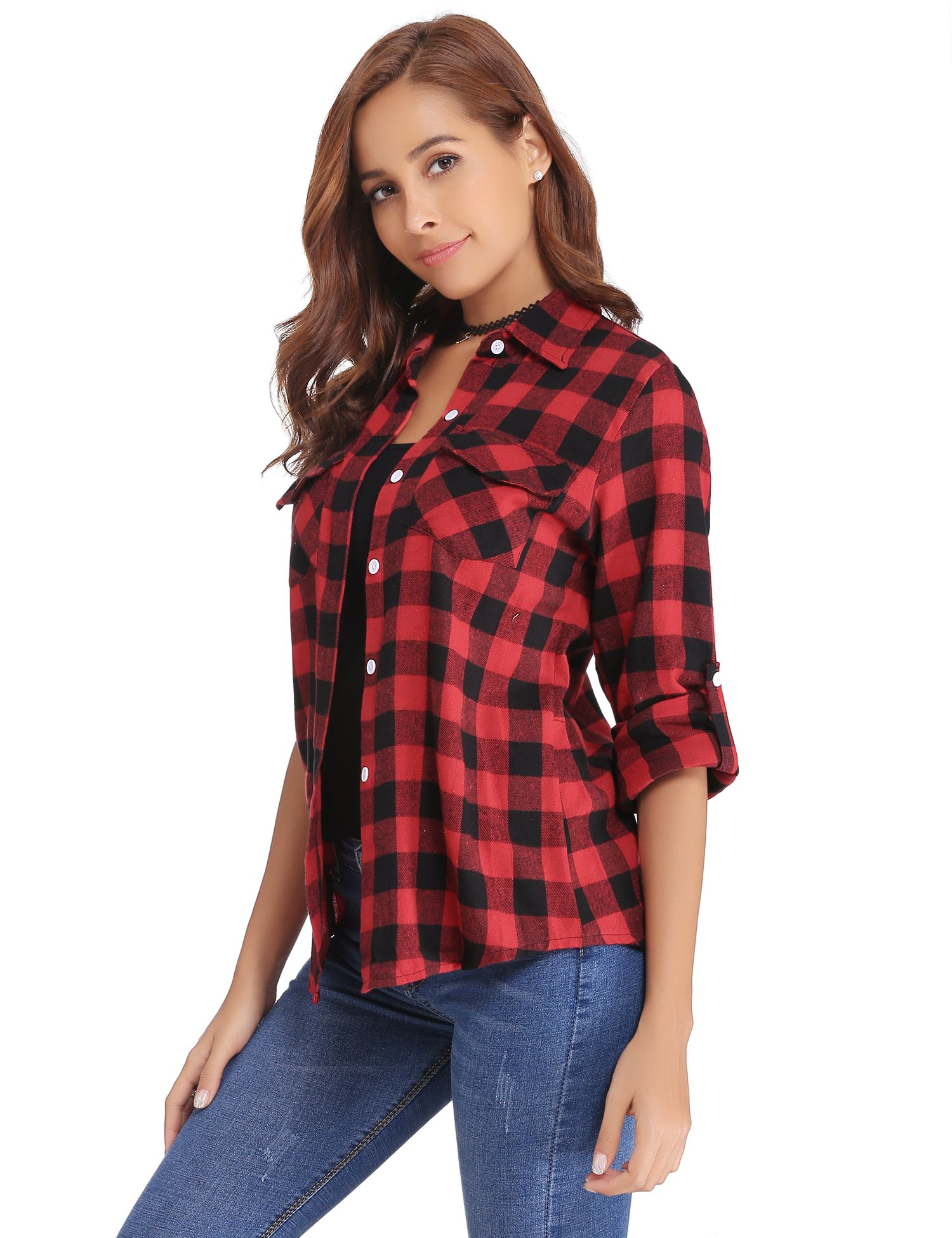 Abollria Women's Roll up Long Sleeve Boyfriend Button Down Plaid Flannel Shirt (Red,M