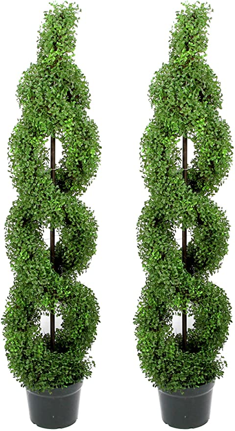 Amazon Com Admired By Nature 2 X 5 Artificial Boxwood Leave Double Spiral Topiary Plant Tree In Plastic Pot Green Twin Pack