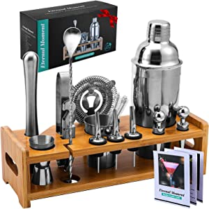 24-Piece Bartender Kit Cocktail Shaker Set, Eternal Moment 24oz Professional Stainless Steel Martini Shaker Bar Tools Set with Stylish Bamboo Stand, Drink Recipes Booklet & Gift Box for Home And Bar