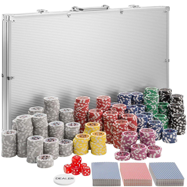 TecTake Set da Poker con fiches laser chips e valigetta da alluminio   incl. 5 dadi + 2 mazzi di carte + 1 bottone del mazziere   -modelli differenti- (500 pezzi   nero   no. 402560) 800446