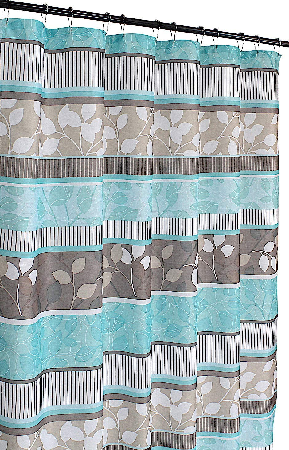Serafina Home Aqua Blue Fabric Shower Curtain: Primitive Striped Floral Design, 70 by 72 Inches, Teal Aqua Brown Beige