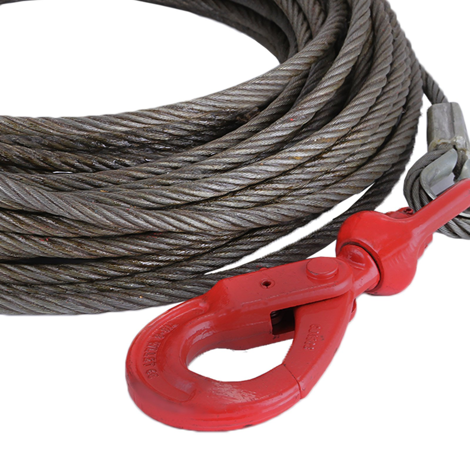 """LOVSHARE 3/8"""" 75 FT Wire Rope 2T Steel Core Winch Cable with Self Locking Swivel Hook Steel Cable for Tow Truck Flatbed (75 FT) by LOVSHARE (Image #7)"""