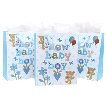 3D Baby Shower Gift Bags U0026 Tissues (Set Of 3)   Light Blue