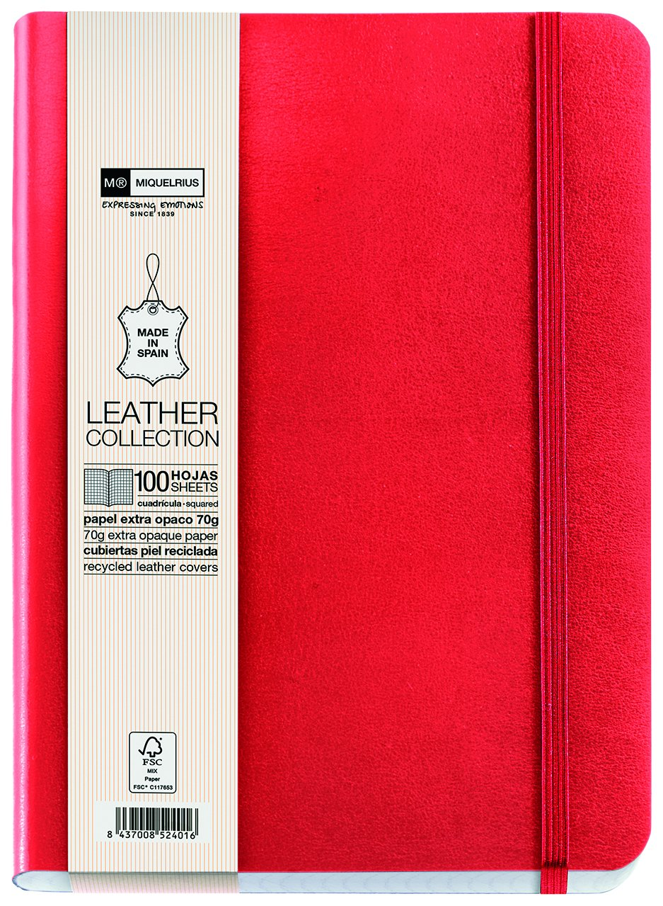 Miquelrius Flexible Handmade Leather Journal, 200 Graph Sheets/400 Pages, (6 x 8) (Red)