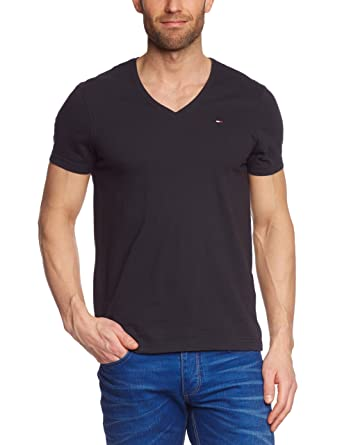Hilfiger Denim Panson V-Neck Logo Men's T-Shirt Tommy Black XX-Large