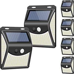 Solar Lights Outdoor[4 Optional Modes&270° Lighting Angle], Towkka 222 LED Solar Motion Sensor Lights Wireless IP65 Waterproof Outdoor Solar Security Lights for Deck/Fence/Porch/Yard/Patio(6 Pack)