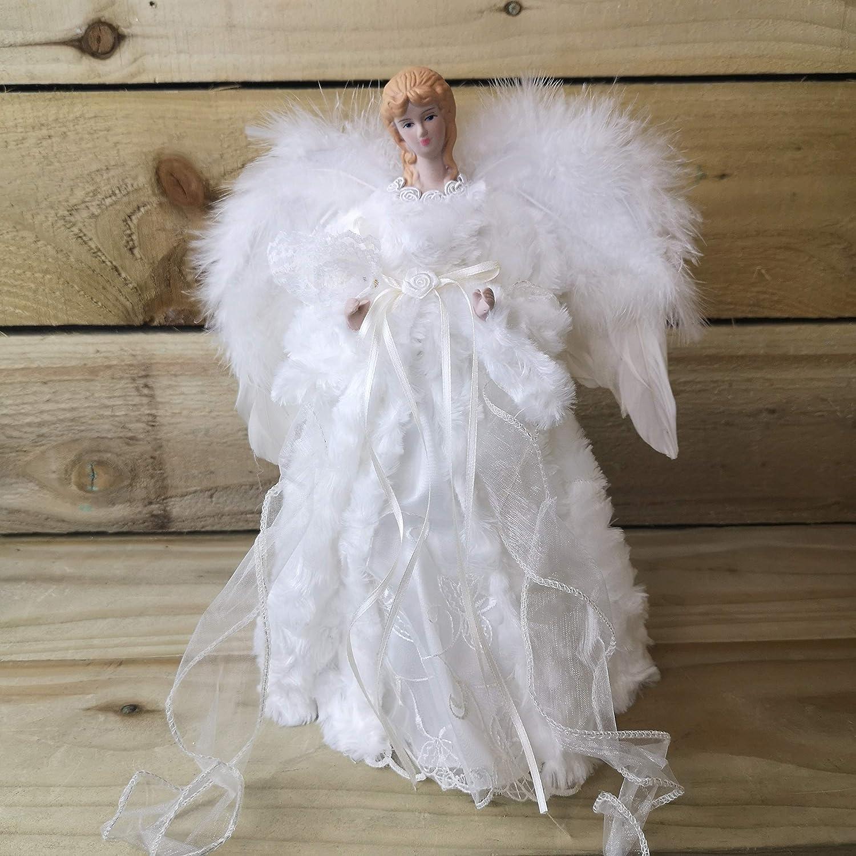 Premier Decorations Ange pour arbre de No/ël avec ailes en plumes manteau en fausse fourrure cr/ème colombe blanche robe blanche