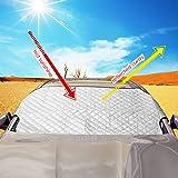 MVPOWER Auto Sonnenblende Frontscheibe, Sonnenschutz UV-Schutz Scheibenabdeckung, Eisschutz Schneeschutz für Windschutzscheibe 143x98cm Silber