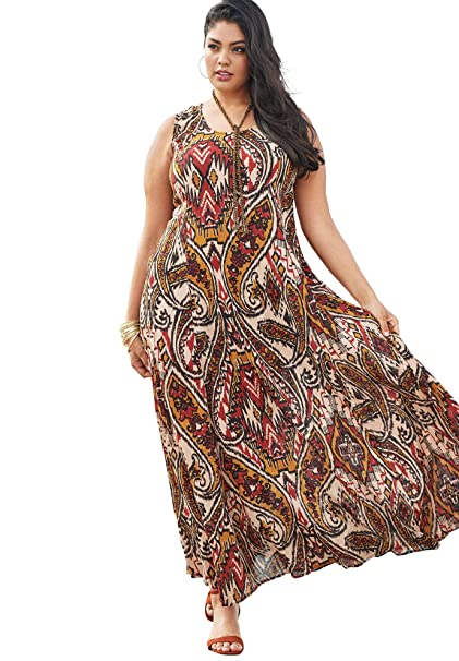 fc6e357eebf Roamans Women s Plus Size A-Line Crinkle Maxi Dress - Maroon Tribal Print