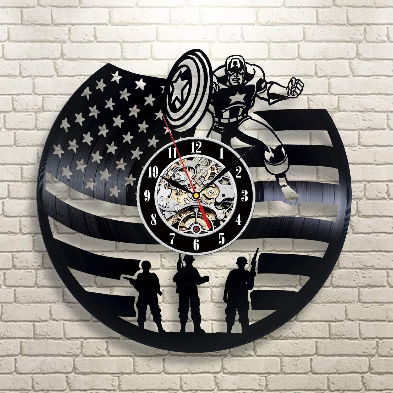 La Bella Casa Captain America Marvel Comics Art Vinyl Record Wall Clock - Get Unique Wall Home Decor - Gift Ideas for Him and Her - Original Handmade Vintage Gift