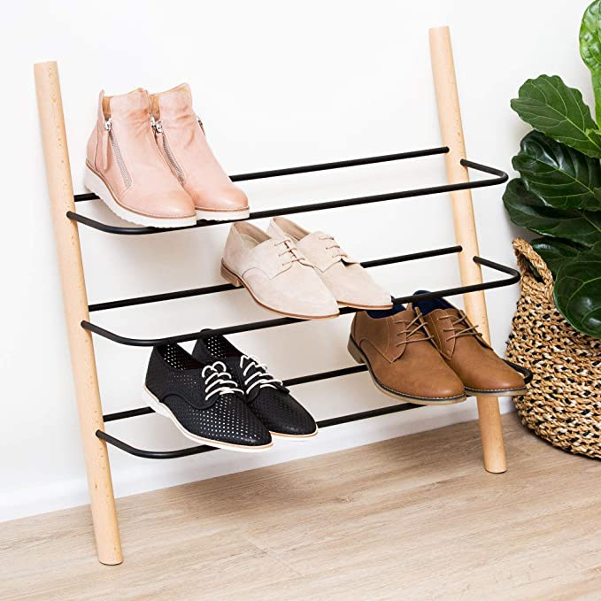 US Wooden Shoes Cabinet Door Entryway Shelves Rack Organizer Storage Holder Box