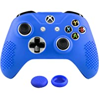 eXtremeRate Soft Anti-Slip Dark Blue Silicone Controller Cover Skins Thumb Grips Caps Protective Case for Xbox One X & One S Controller Blue