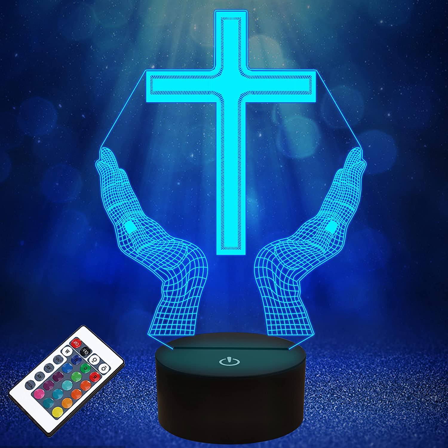 Jesus Cross 3D LED Night Light for Friends Xmas Easter Room Decor Gifts,Optical Illusion Desk Table Lamp with Remote + 16 Color Flashing Change + Timer