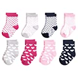 Luvable Friends Baby Basic Socks, Black And Pink