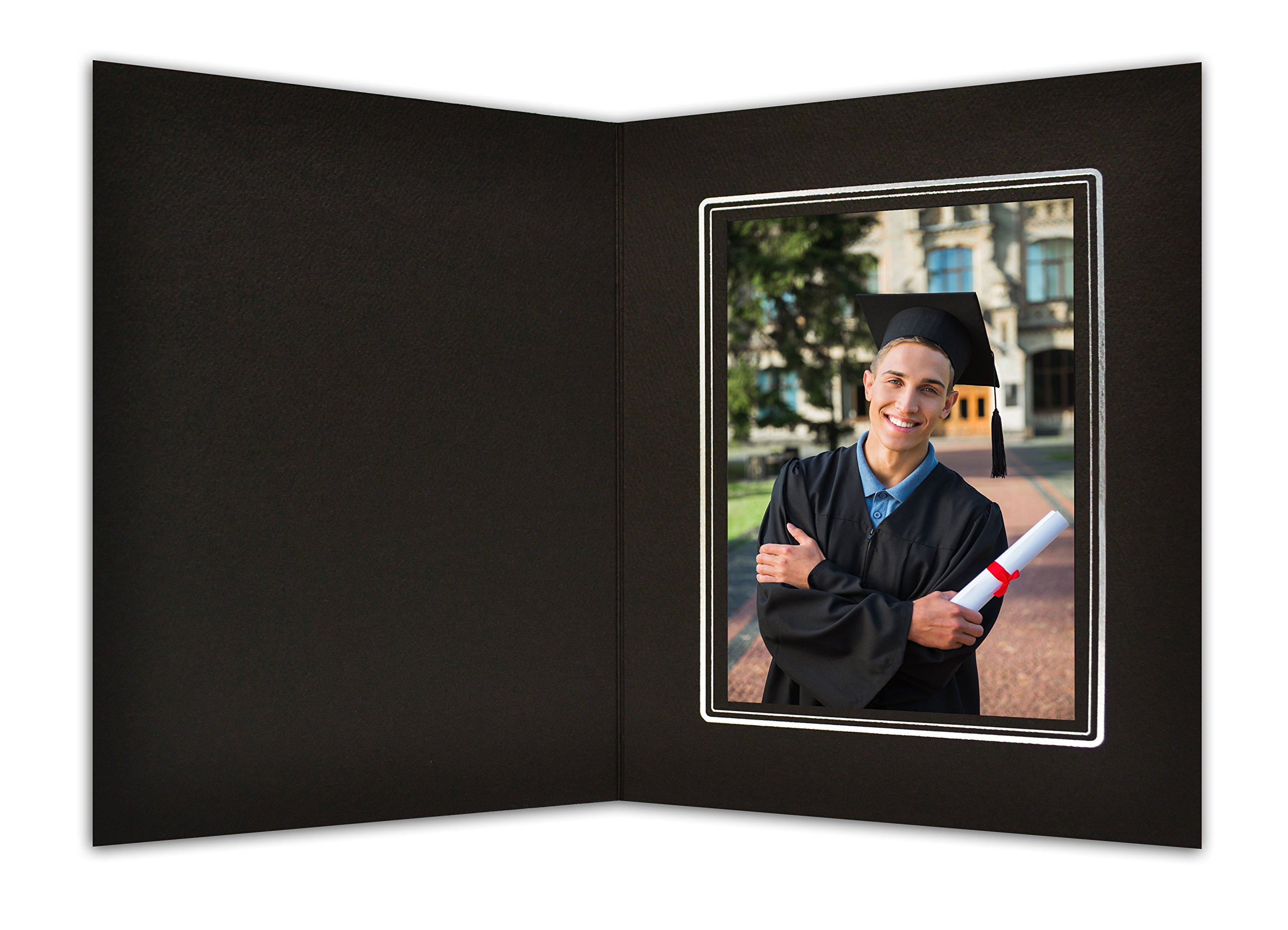 Golden State Art, Cardboard Photo Folder for a 4x6 Photo (Pack of 100) Black Color