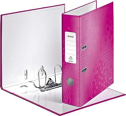 LEITZ 10050023 - Archivador de palanca carton forrado WOW 180º A4 Lomo 80 mm. color fucsia metalizado: Amazon.es: Oficina y papelería