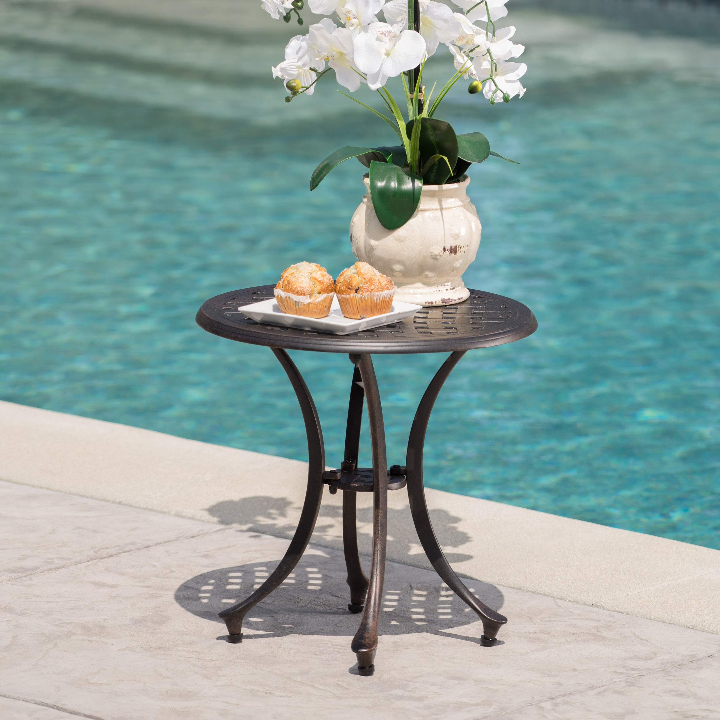 GDF Studio 301752 Louis Outdoor 19'' Bronze Finished Cast Aluminum Side Table by GDF Studio