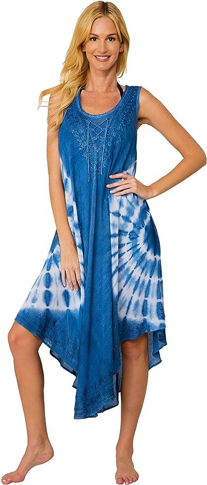 ea01eb73473 Ingear Tie Dye Umbrella Dress Long Batik Dress Maternity Casual Sundress  (Small/Medium,
