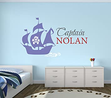 Custom Pirate Boat Name Wall Decal - Pirate Boy Room Decor - Nursery Wall  Decals - Captain