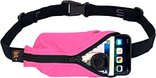 "product image for SPIbelt Running Belt Large Pocket, No-Bounce Waist Bag for Runners, iPhone 6 7 8-Plus X Athletes and Adventurers (Hot Pink with Black Zipper, 25"" Through 47"")"