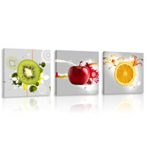 Natural art Apple Orange Kiwi Fruit 3 Panels Modern Artwork Painting Canvas Prints Wall Art Decor Framed Ready to Hang for Kitchen Home Decor 12x12 Inches
