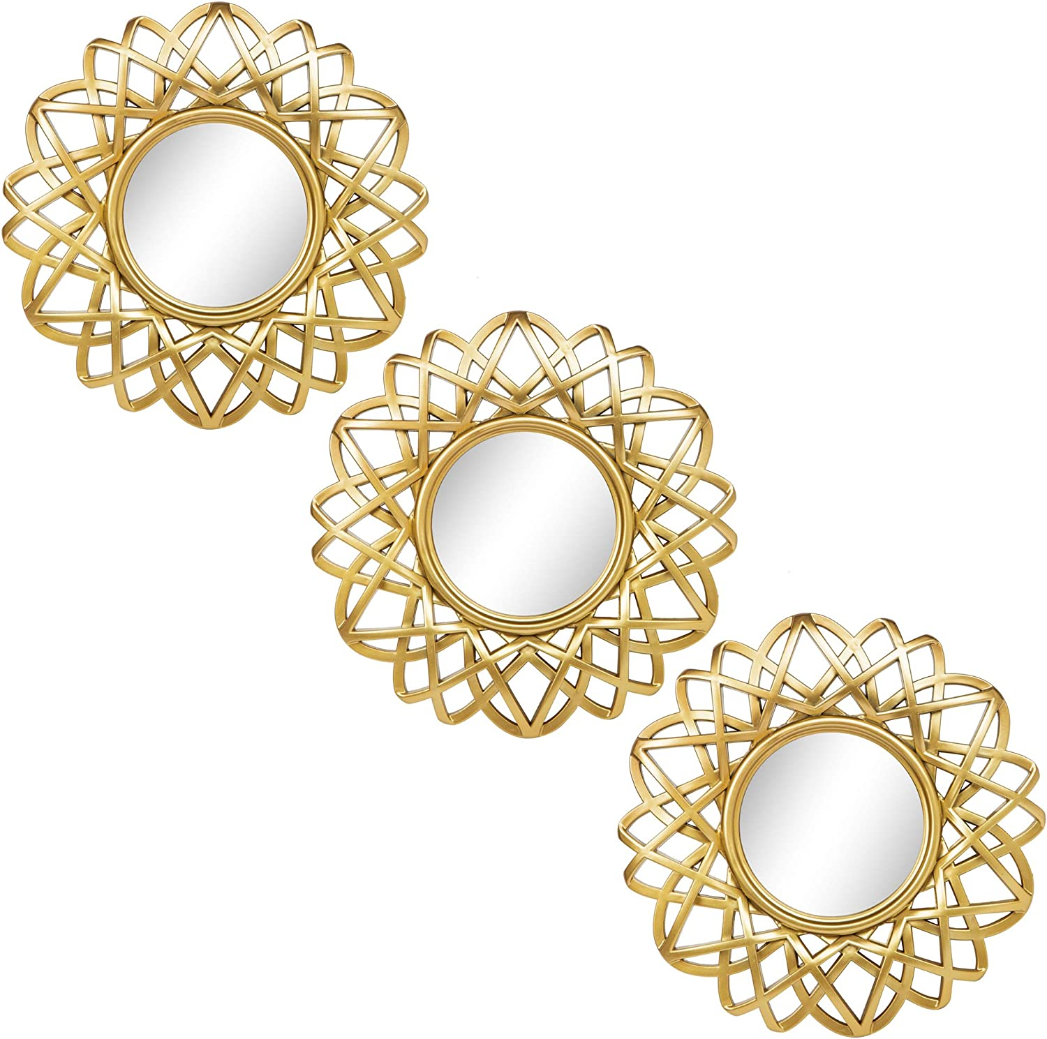 Small Round Mirrors for Wall Decor Set of 3 - Great Home Accessories for Bedroom, Living Room & Dinning Room (M004)