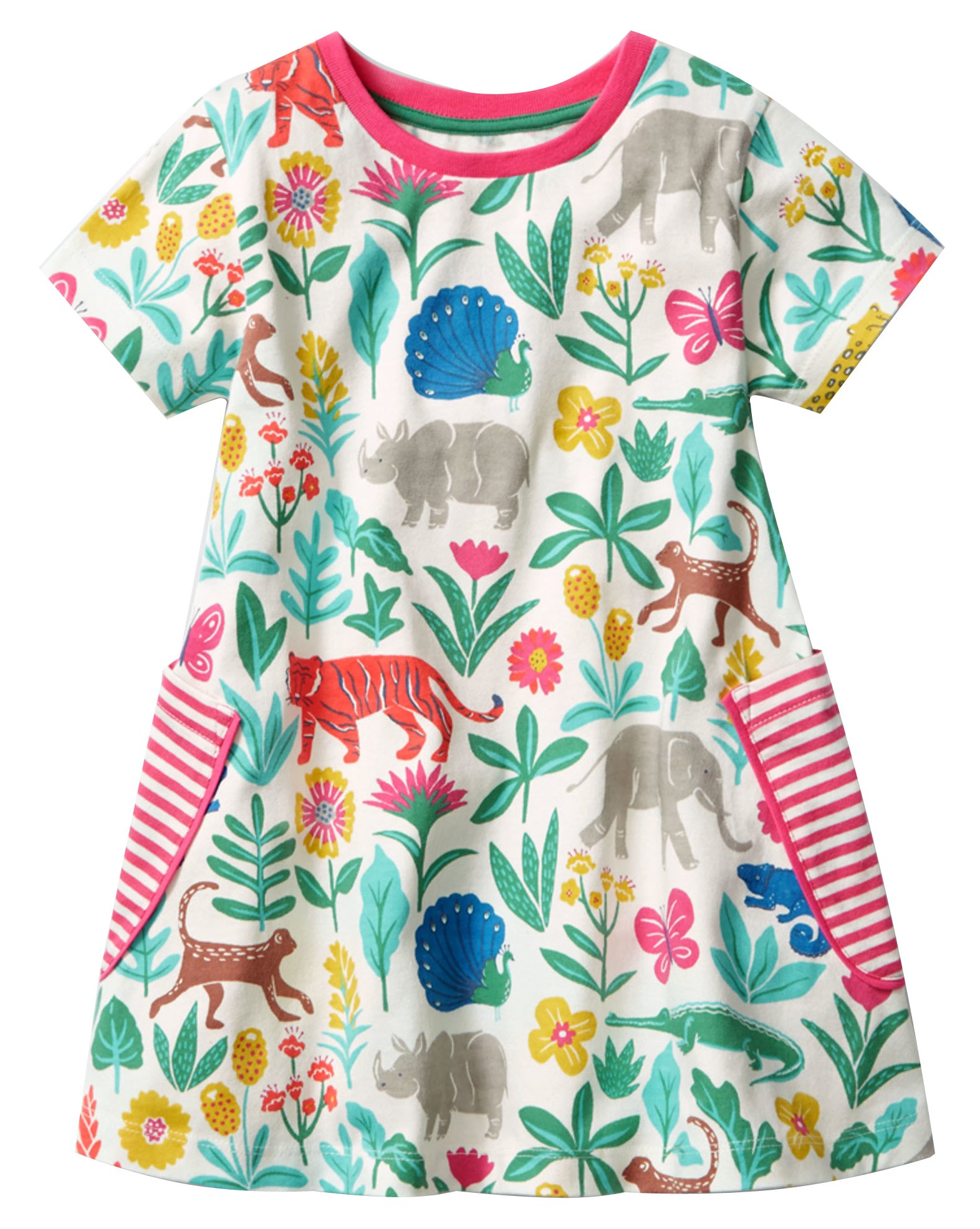 Fiream Girls Summer Cotton Casual Flower Dresses Shortsleeve by (20001tz,4T/4-5YRS)
