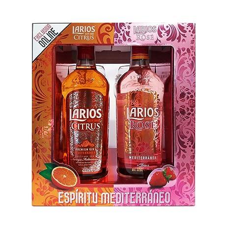 Larios Citrus + Rose - Ginebra, 2 Copas Incluidas (2 x 700 ml)