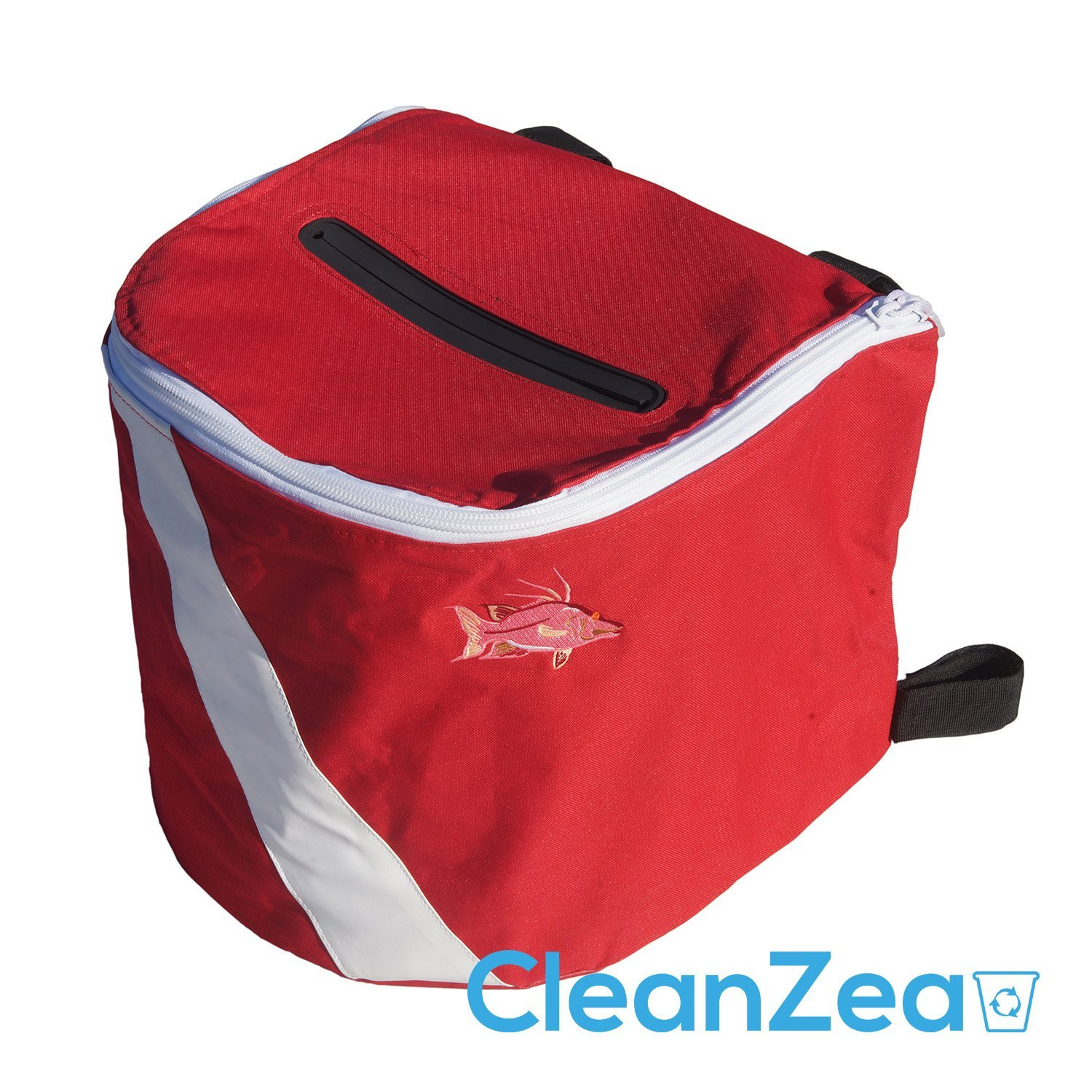 CleanZea Caddy - Easy to mount, soft sided ecofriendly marine trash receptacle (Diver's Red Edition)