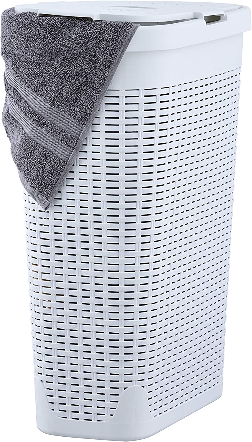 Superio Palm Luxe Narrow Laundry Hamper, 1.15 Bushel, White