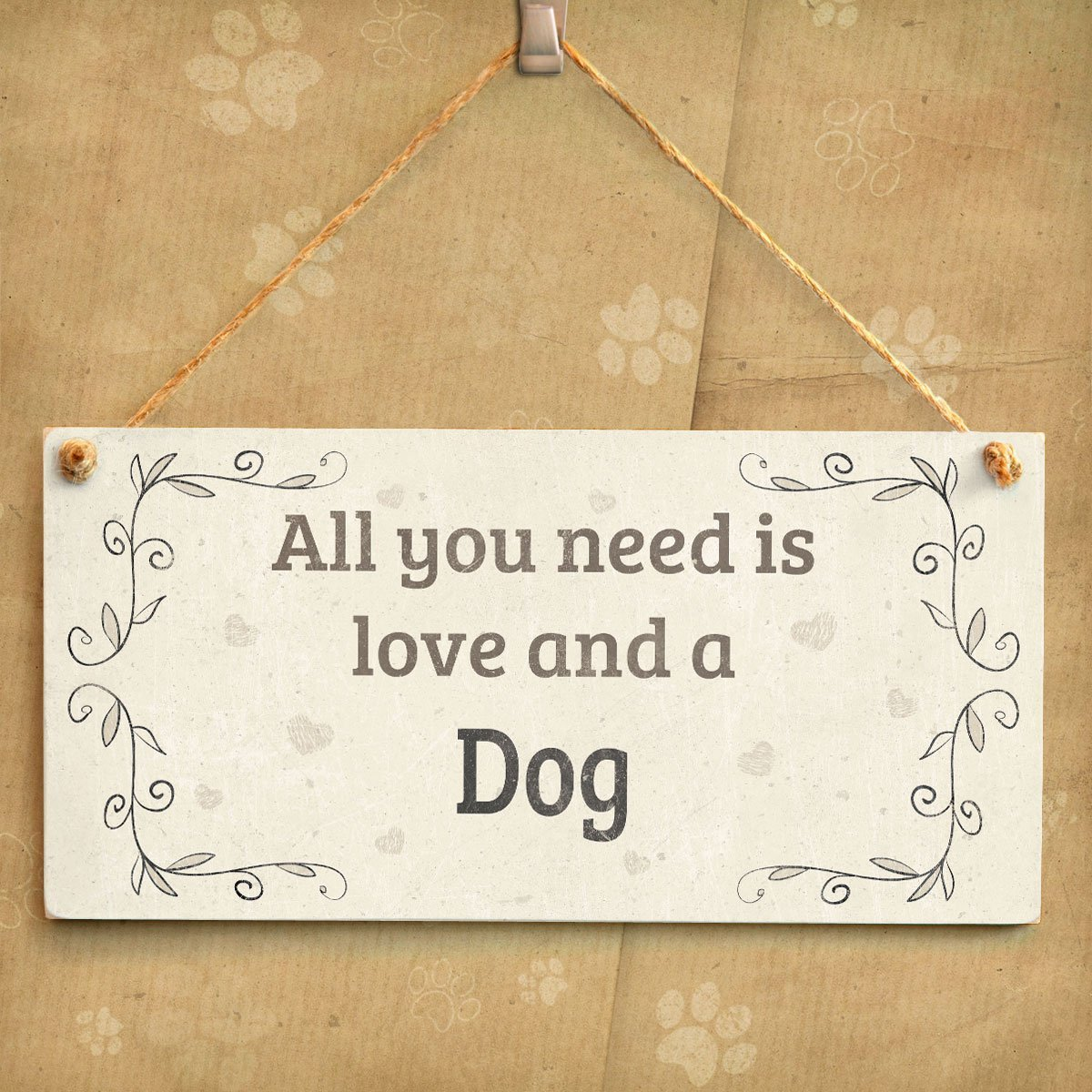 Meijiafei All You Need is Love and Dogs Lovely Home Accessory Gift Sign for Dog Owners 10x5