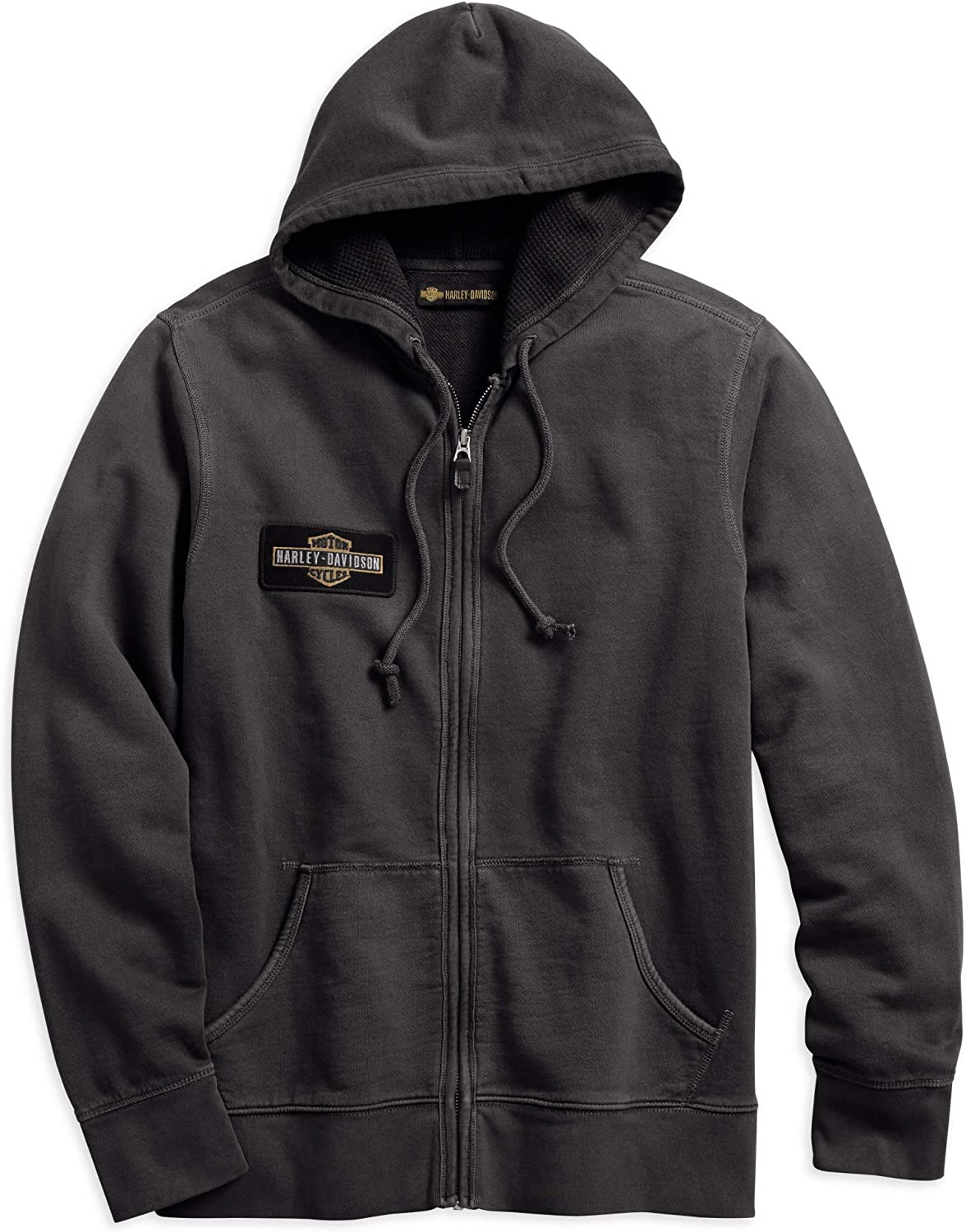 Harley Davidson Men's Eagle Logo Slim Fit Hooded Sweatshirt (Steel Grey)