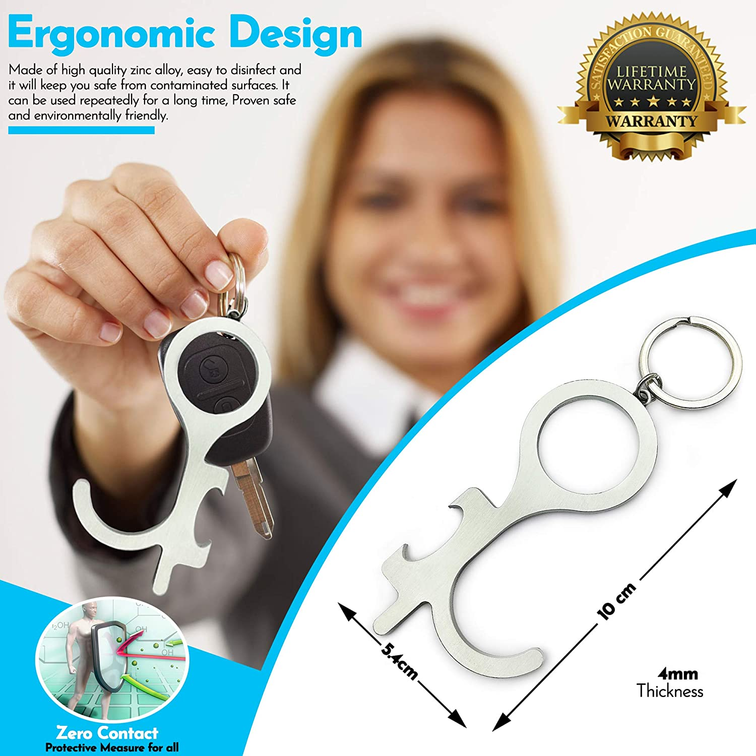 Premium No Touch Door Opener Tool /& Bottle Opener Touchless Button Pusher /& Key Holder Kit 2 pcs, Silver Hands Free Keychain Utility Hook Tool Like a Clean Key /& Door Closer