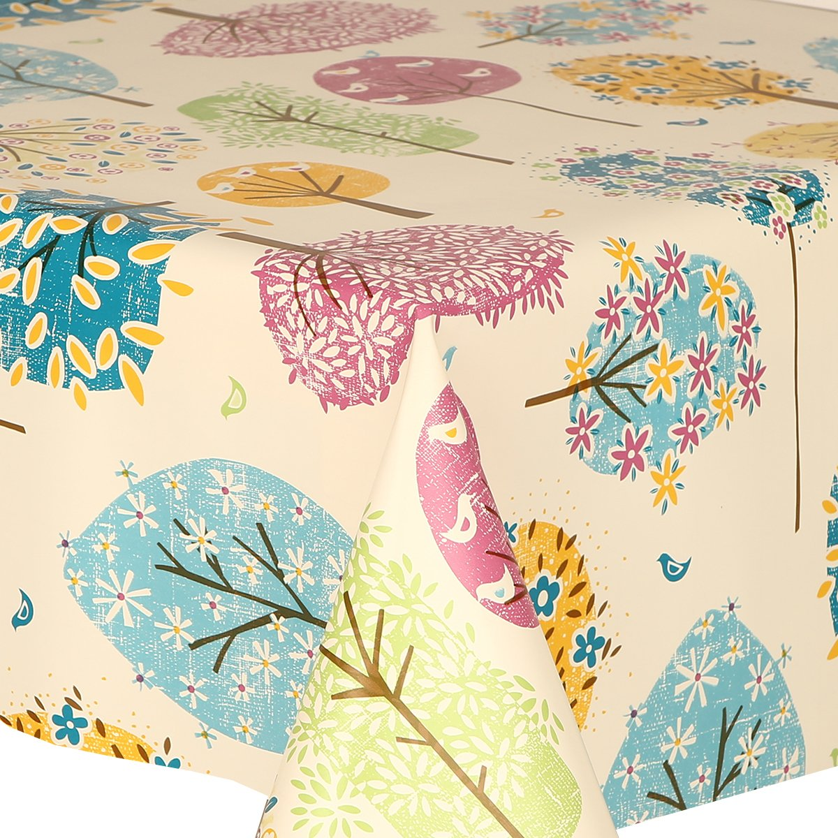 Birds Leaves Flowers Multi Green Brown Blue Aqua Pink Yellow Off White Wipe Clean 350cm x 140cm PVC Tablecloth Funky Trees 3.5 Metres Vinyl // Plastic Table Cloth