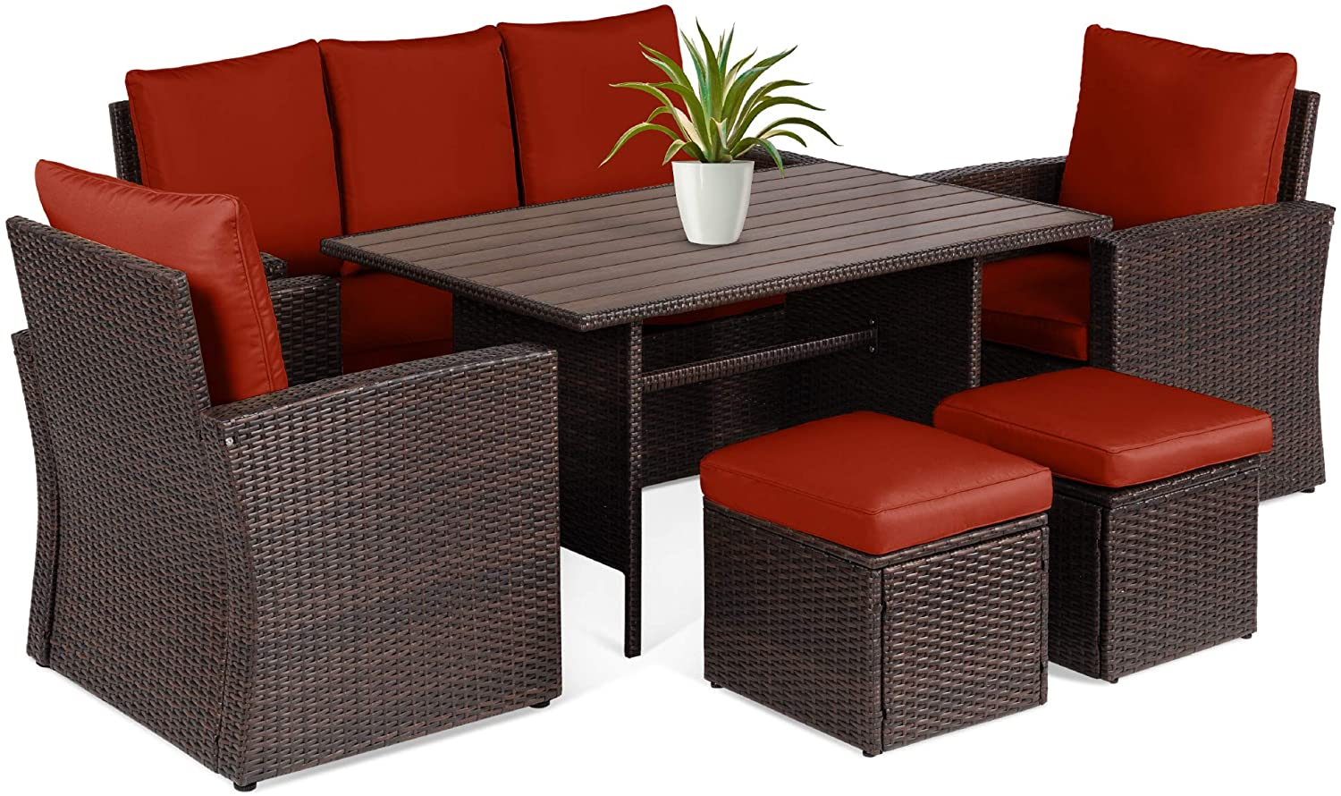 Best Choice Products 7-Seater Conversational Wicker Sofa Dining Table, Outdoor Patio Furniture Set w/Modular 6 Pieces, Cushions, Protective Cover Included - Brown/Red