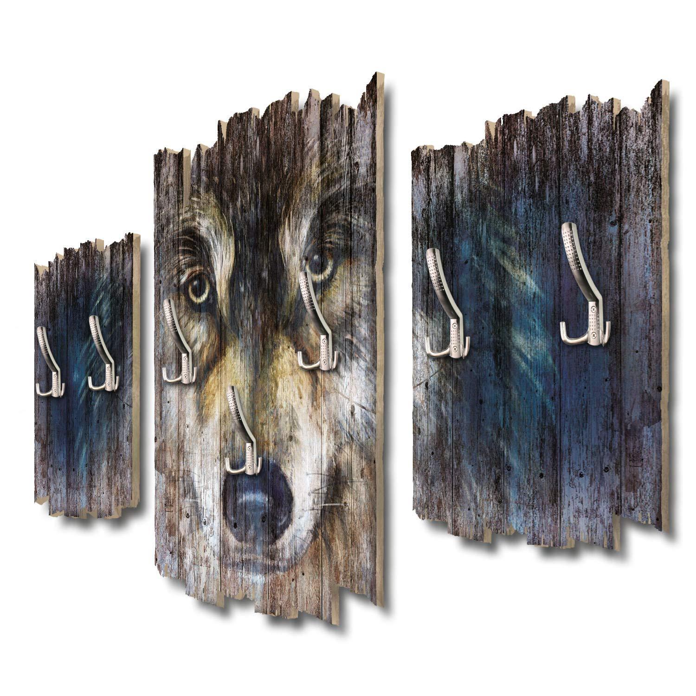 Kreative Feder Wolfsblick Designer Wandgarderobe Flurgarderobe Wandpaneele 95 x 60 cm aus MDF DTGH117