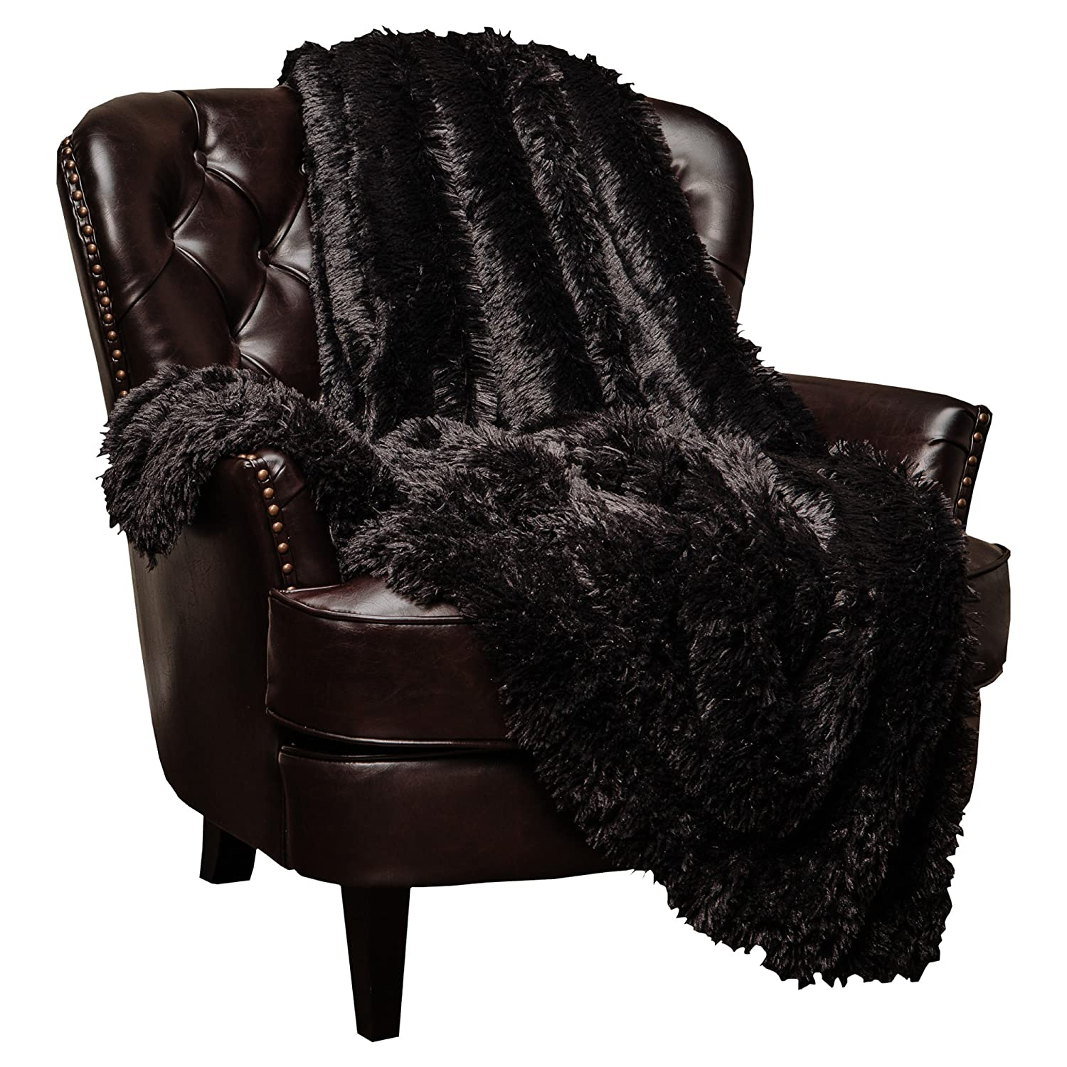 Chanasya Shaggy Longfur Faux Fur Throw Blanket - Fuzzy Lightweight Plush Sherpa Fleece Microfiber Blanket - for Couch Bed Chair Photo Props (60x70 Inches) Black