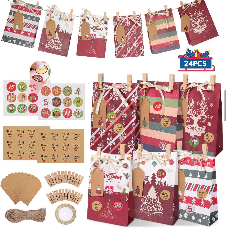 Gafild Bolsas de regalo navidad, 24pcs 6 Estilos bolsas de regalo papel Kraft con 48 Pegatinas Comida Dulces Galletas Chocolates para fiestas Bolsa Kraft para Navidad, fiesta 22x15x6cm