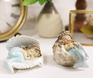 Ebros Whimsical Nautical Sea Sleeping Mergirls with Capiz Blue Tails Mermaid Babies in Conch Shells Small Miniature Figurines Set of 2 DIY Mermaids Fantasy for Terrariums Mini Planters Fairy Garden