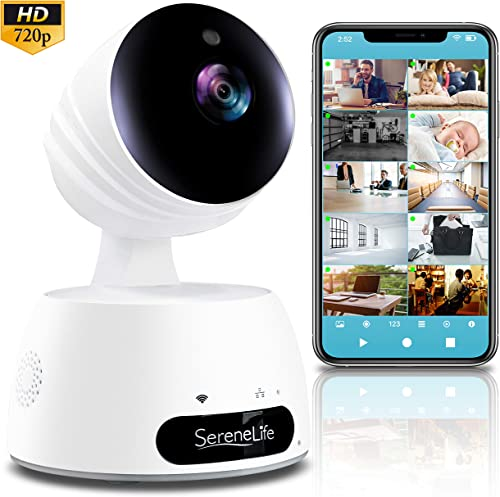 SereneLife Indoor Wireless IP Camera-HD 720p Network Security Surveillance Home Monitoring w Motion Detection