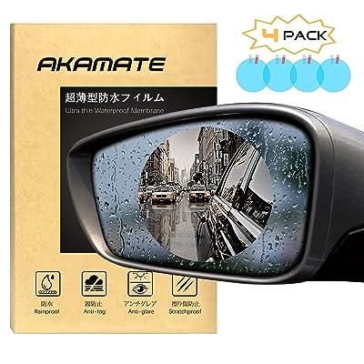 Car Rearview Mirror Waterproof Film, AKAMATE Anti-Fog Anti-Glare Anti-Scratch HD Car Window Membrane Rainproof Clear Protective Films Sticker (4 PCS): Car Electronics