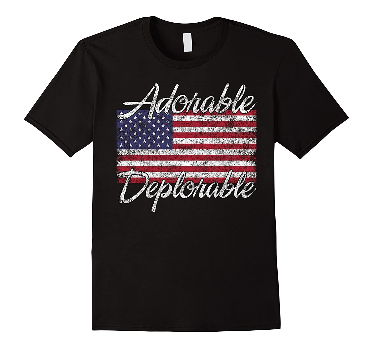 Adorable Deplorable T shirt with American Flag-Art
