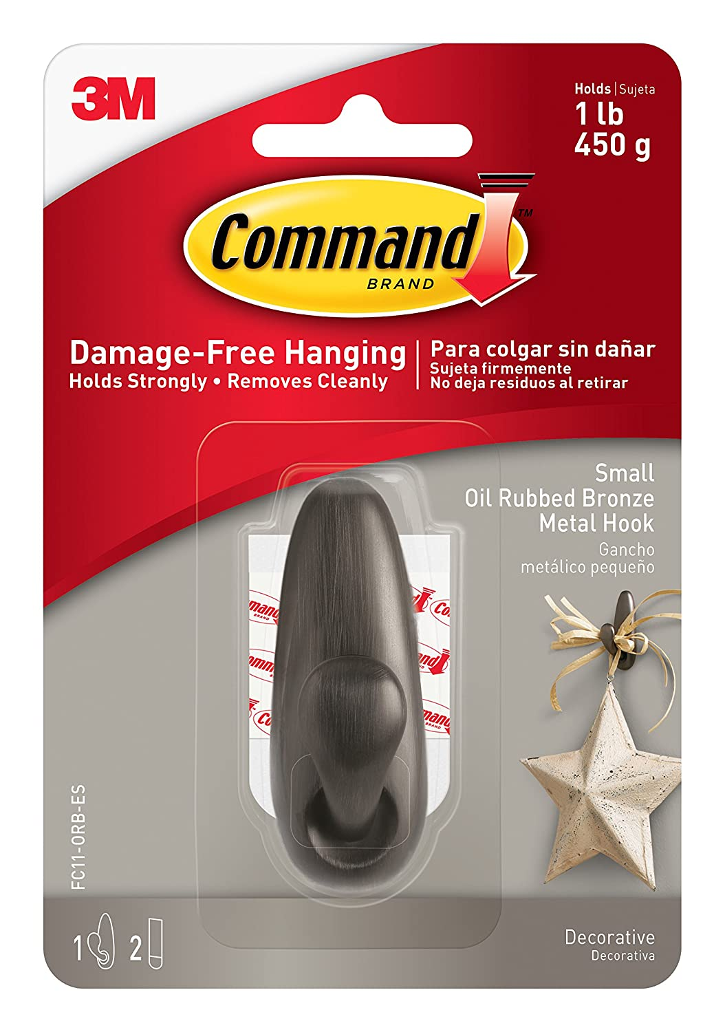 Command Forever Classic Metal Hook, Small, Oil Rubbed Bronze, 1-Hook (FC11-ORB) 3M Command
