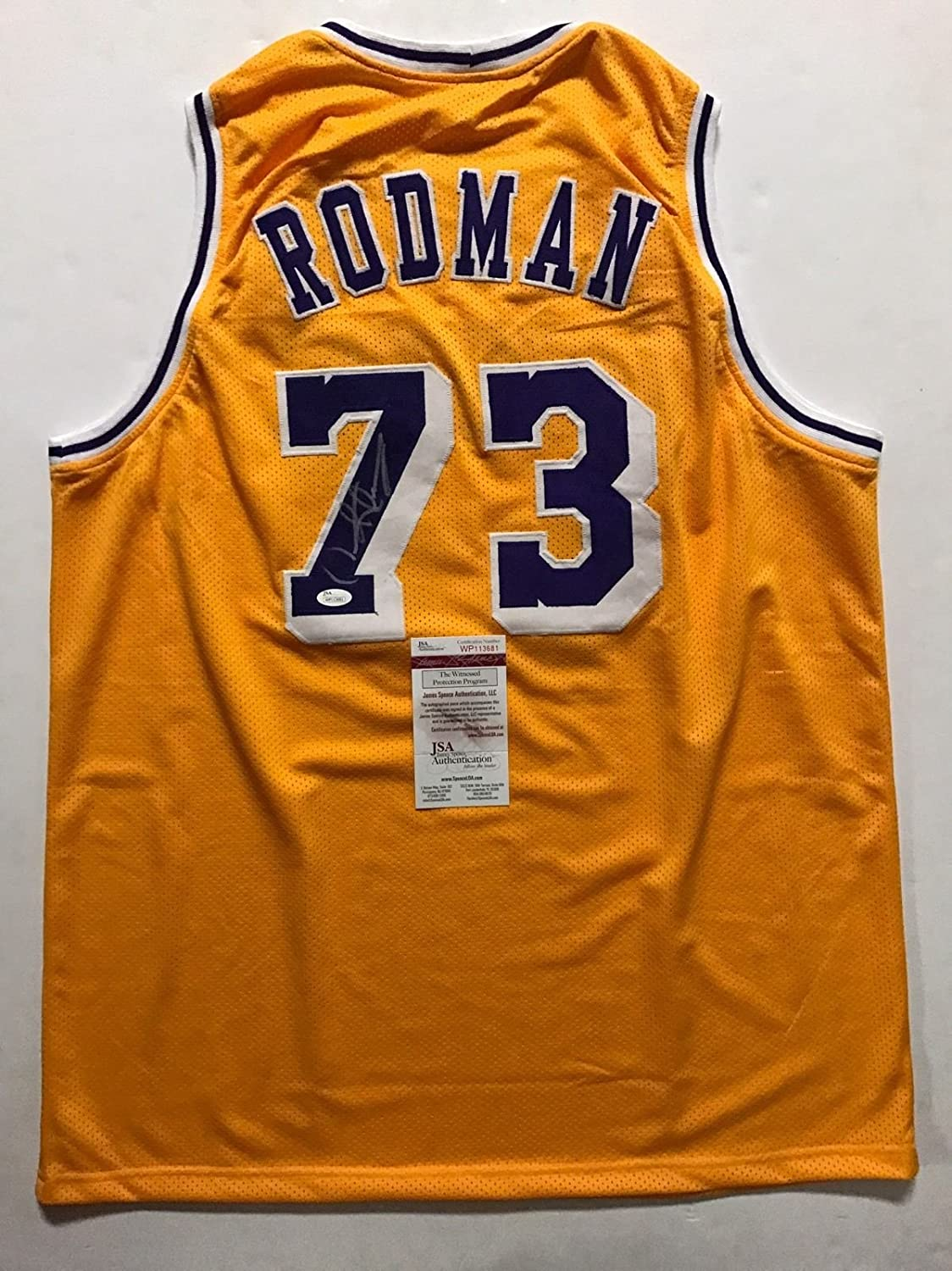 631a916d4a8d Autographed Signed Dennis Rodman Los Angeles LA Lakers Yellow Basketball  Jersey JSA COA at Amazon s Sports Collectibles Store