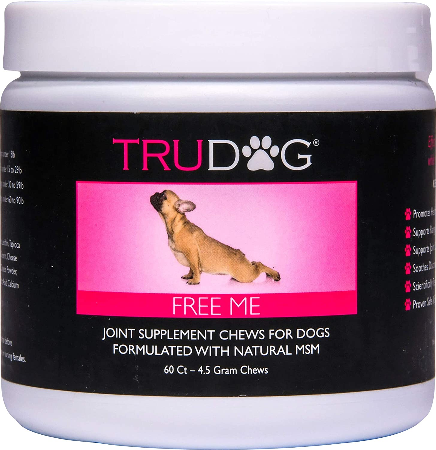 TruDog Free Me Soft Chew Joint Supplement for Dogs - for Natural Source of Vitamin C and Joint Support - 60 Count - Beef Liver Flavor - Suitable for All Dogs - Premium Ingredients, Made in The USA