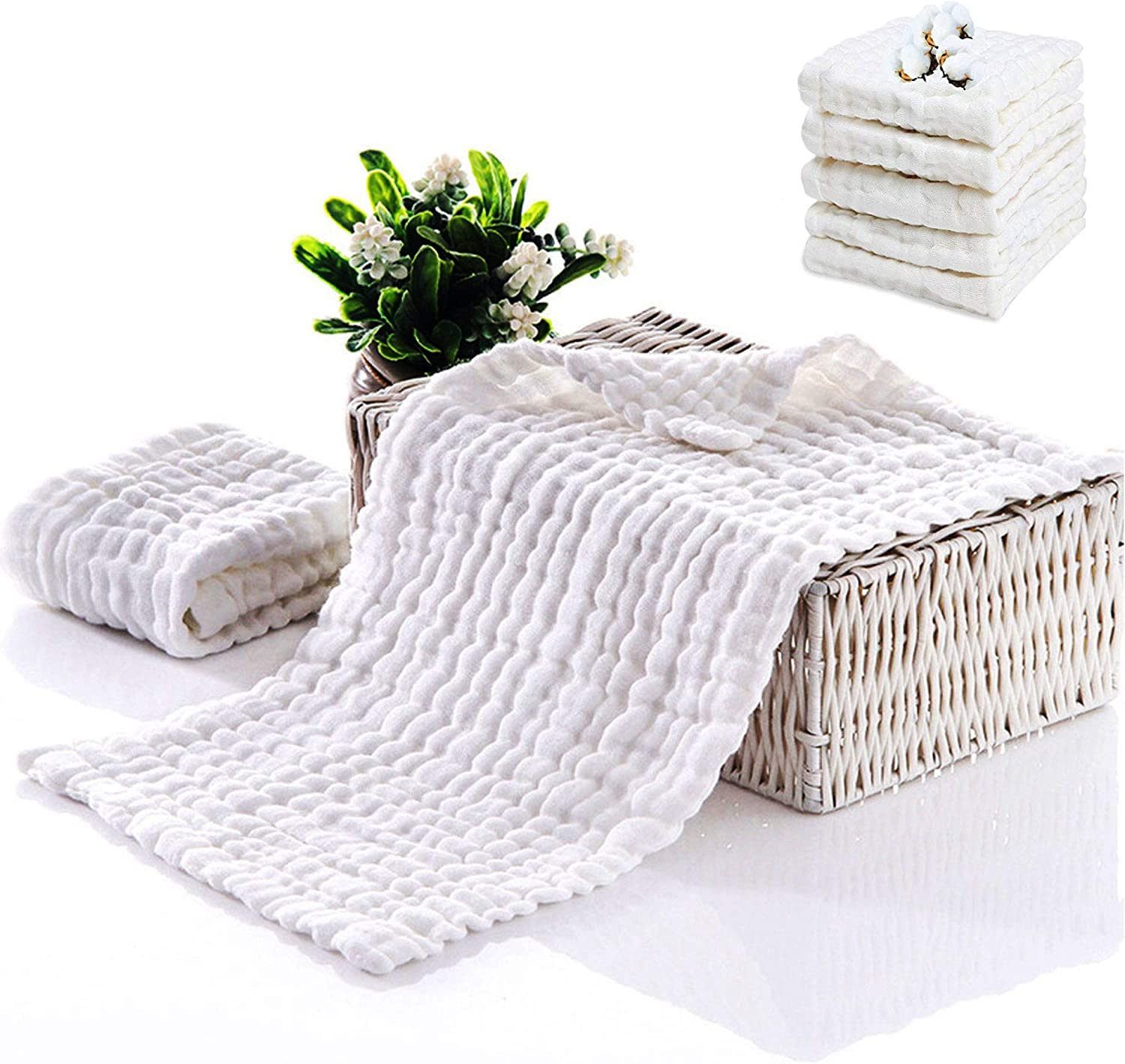 """Organic Bamboo White, Pack Of 8 Washcloths Extra Absorbent and Soft Burping Cloth Towel Wash Cloth Girl Boy by Comfy Cubs Baby Burp Cloths 8 Pack Large 20/"""" by 10/"""""""